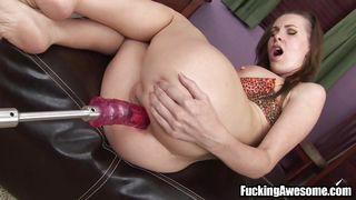 stretching her ass with her favorite dildo