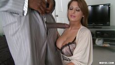 attractive milf gets some black dick in her mouth