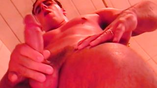 brunette gay masturbating in the shower