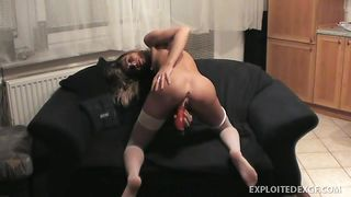 skinny ex girlfriend fucking her pussy with a vibrator