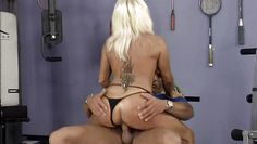 mature slut rides big cock at the gym