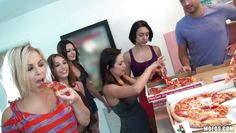 a party with pizza and horny chicks