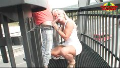 naughty blonde mature licking and sucking a dick outdoors
