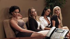 four babes seducing their boss for more money