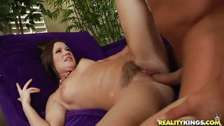 black haired sexy milf getting drilled on a couch