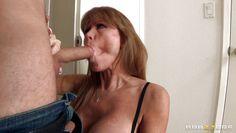 brunette mature lady seduces a young cock!
