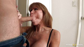 brunette mature lady seduces a young cock!