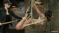 brunette teen tied with rope getting punished