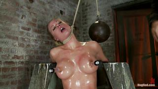 strangulated blonde babe gets a hard cock in her mouth