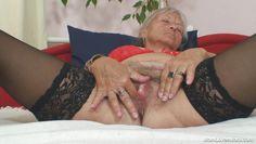 granny blonde slut fingering her vagina