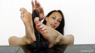 horny brunette babe giving feet work.