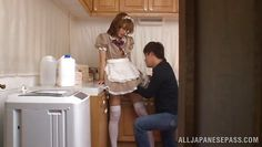 playing with her in the kitchen