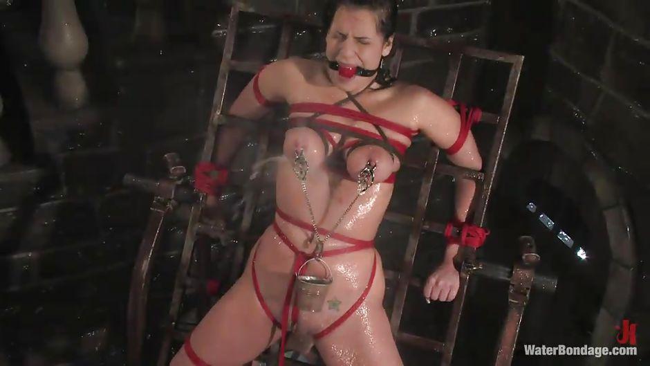 Naked bondage he fondled her nipples