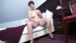lonely milf touches herself in private