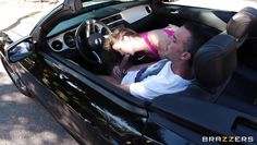 shameless babe fills her mouth at the car