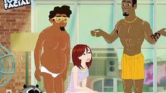cute redhead sucks black cartoon cock