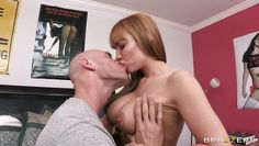bald guy playing with a blonde big boobs!