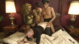 three tranny mistresses dominate their little bitch boy