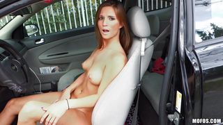 shameless slut masturbates in the car
