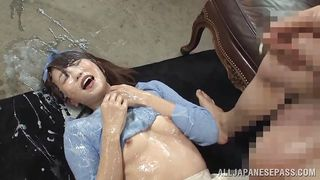 japanese slut gets plastered with jizz