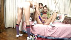 lesbian fun with a big dildo