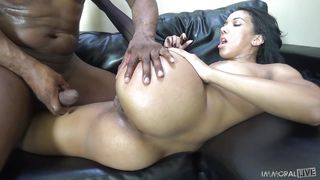 strong girl takes a big black cock