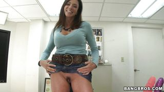 pretty innocent looking milf with big boobs acting slutty