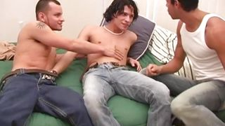 three sexy boys undressing and starting to suck each other