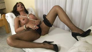 leticia takes off her black panties and pantyhose then masturbates