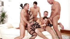 seductive brunette babe gets banged @ 4 on 1 gangbang