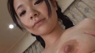 japanese brunette babe shows her young body
