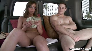 money makes her to undress and kneel in front of a cock