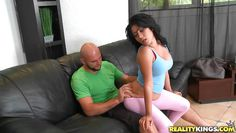 latina slut gives to bald guy a blowjob
