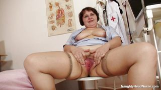 old fat nurse satisfying herself at work