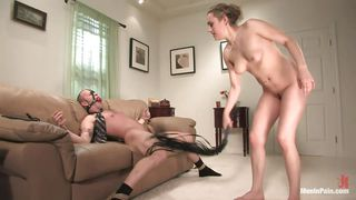 blonde diamond grabbing the guys balls and gives him head