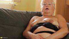 blonde grandma in black panties gives herself some love!