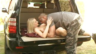 busty white blonde gets out from the car and sucks cock