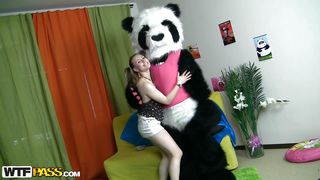 girlish chick loves her panda bear