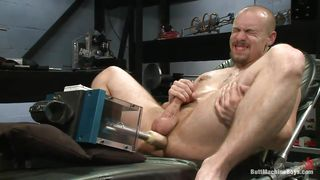 bald man fucking his ass with sex toy and masturbates