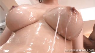 asian babe oiled by a black guy