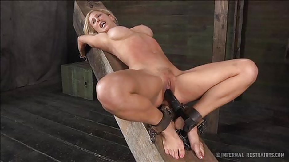 image Suspended gagged babe fucked for public
