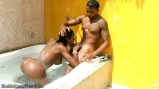 tranny chick gets big cock in her asshole in the showerblack