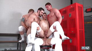 hot college athletes in the locker-room