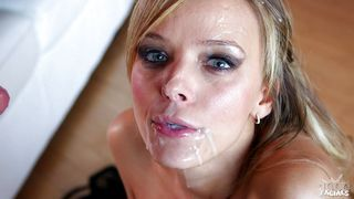 blonde bitch gets her face covered in spunk
