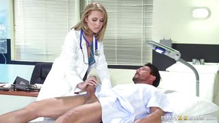 blonde doc treating a patient's big boner