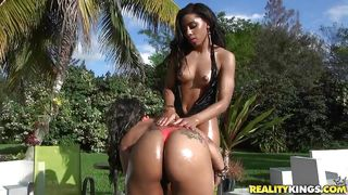 ebony babes expose their round asses