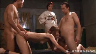 geisha mistress watches the slut slave get fucked