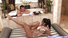 she gets soapy and slips all over him