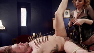 dominatrix pegs her fuck slave in his tight asshole