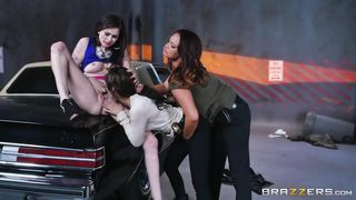 lesbian threesome on the car hood